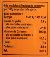Cacao instantáneo ecológico sin lactosa y sin gluten - Nutrition facts - fr