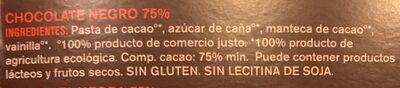 Chocolate ecológico 75% - Ingredients - es