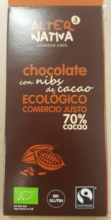 Chocolate con nibs de cacao ecológico comercio justo 70% cacao - Product
