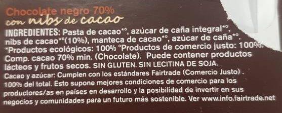 Chocolate con nibs de cacao ecológico comercio justo 70% cacao - Ingrediënten