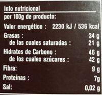 Chocolate con jengibre y limon ecologico - Nutrition facts - es