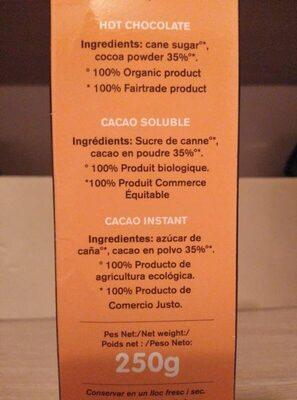 Cacau instant ecològic just - Ingredients - es