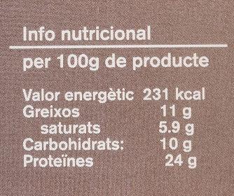 Cacau pur desgreixat - Información nutricional