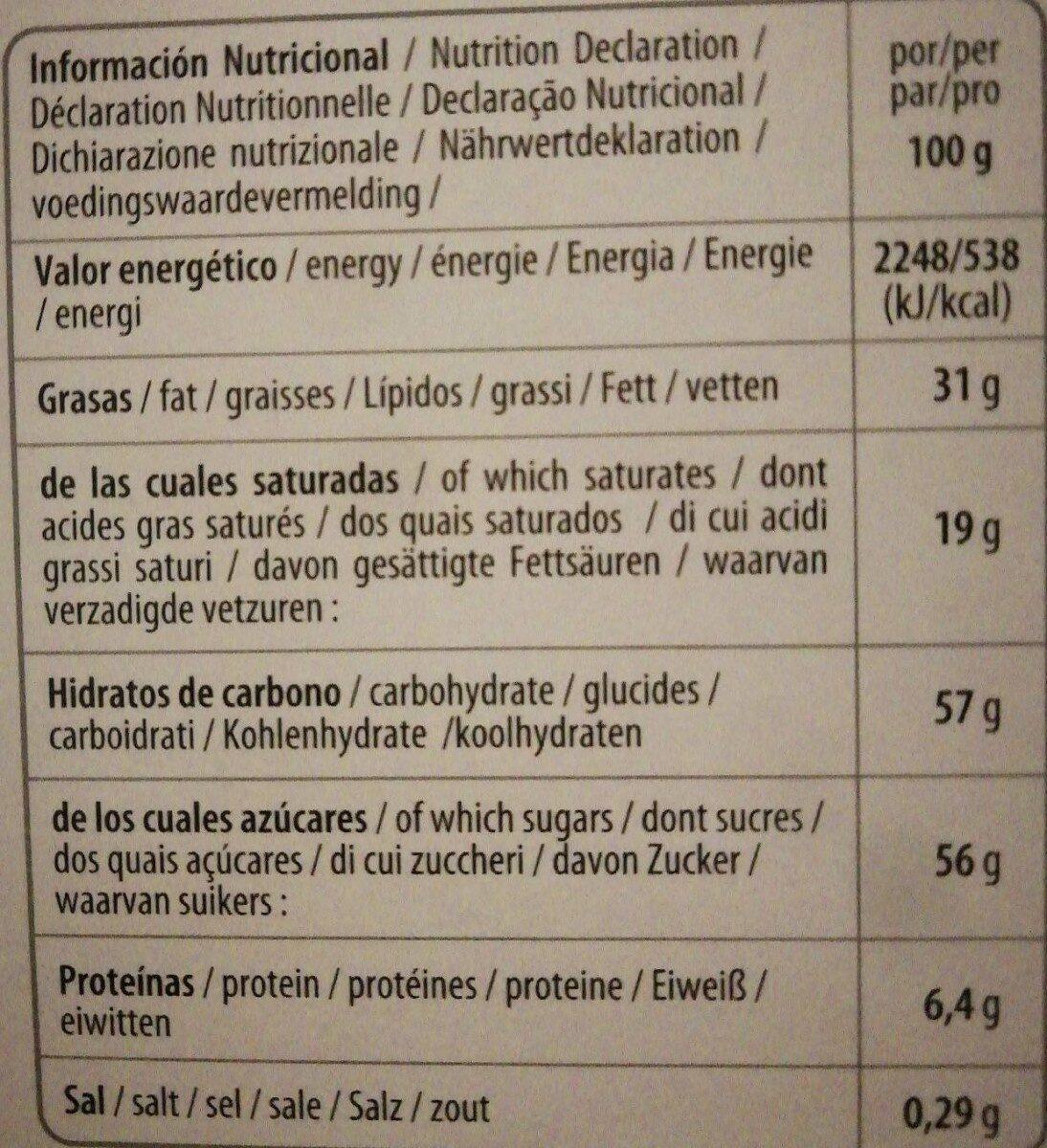 Calendario de adviento con chocolate - Informations nutritionnelles