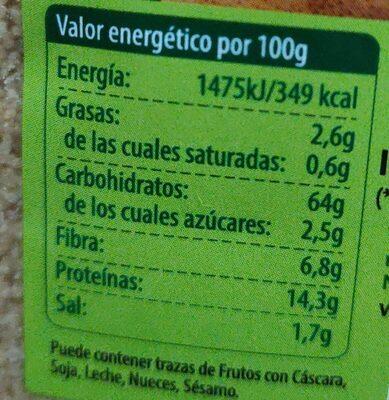 Cous cous espelta integral - Información nutricional