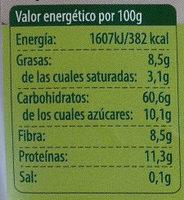 Muesli de avena con trozos de chocolate - Informació nutricional - es