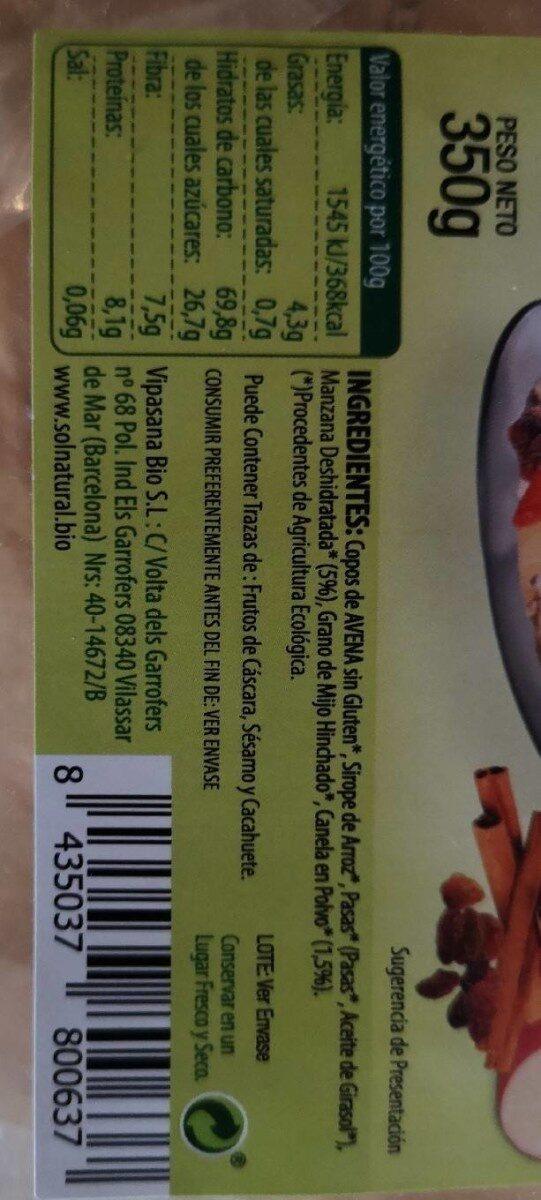 Krunchy de avena - Informació nutricional - es