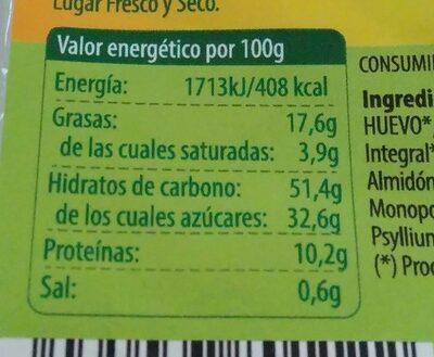 Magdalenas Clásicas Bio - Voedingswaarden