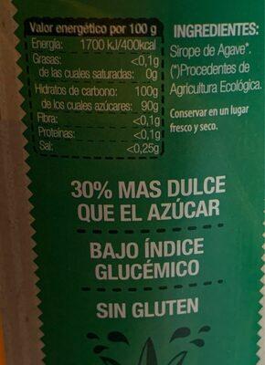 Sirope de agave - Información nutricional - es