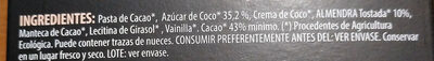 Bio Chocolate almendras tostadas - Ingredientes
