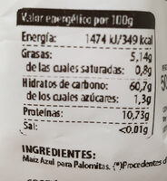 Maíz azul para palomitas - Ingredientes