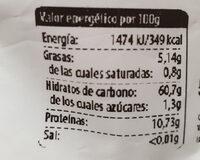 Maíz azul para palomitas - Información nutricional