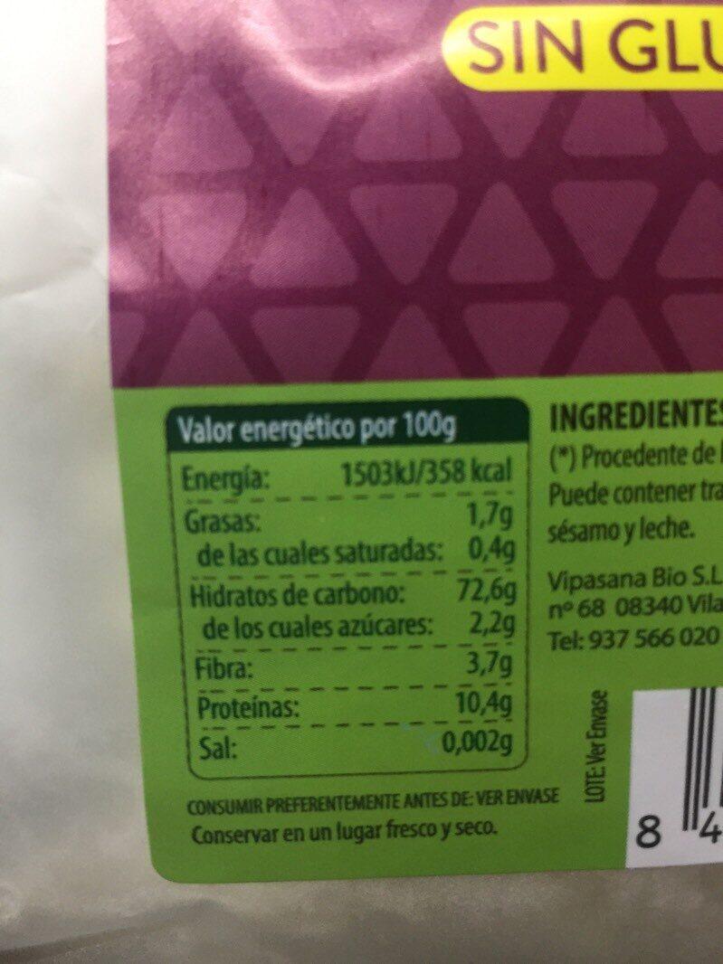 Harina de trigo sarraceno - Informations nutritionnelles