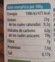 Galletas de muesli - Información nutricional - es