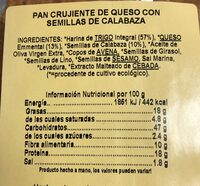 Biocrackers queso - Voedingswaarden - fr