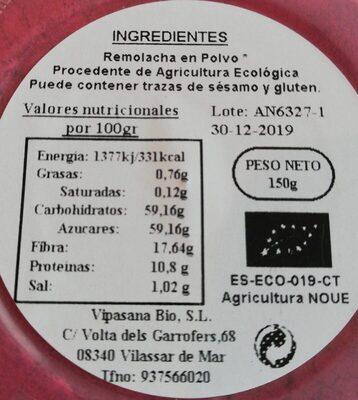 Remolacha en polvo - Informació nutricional