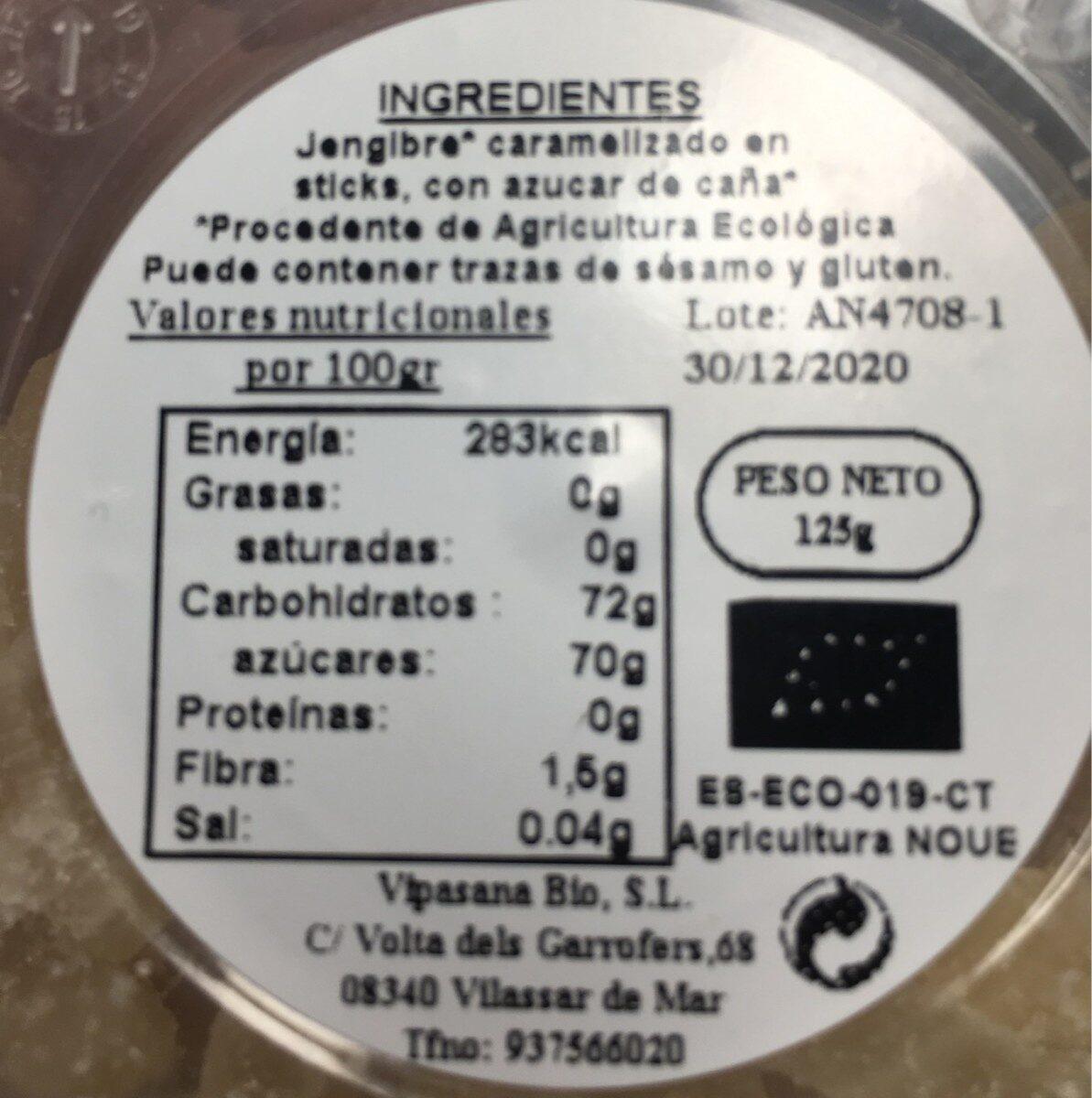 Jengibre Cristalizado - Nutrition facts