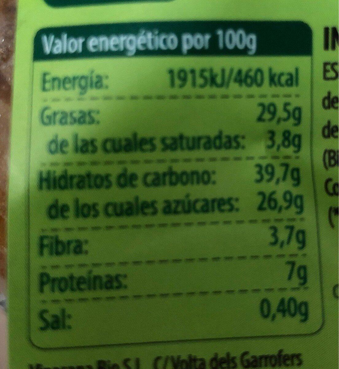 Bio magdalenas de espelta - Informations nutritionnelles - es