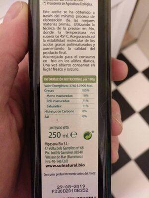 Bio aceite de lino - Información nutricional