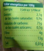 Tagliatelle de espelta - Informations nutritionnelles