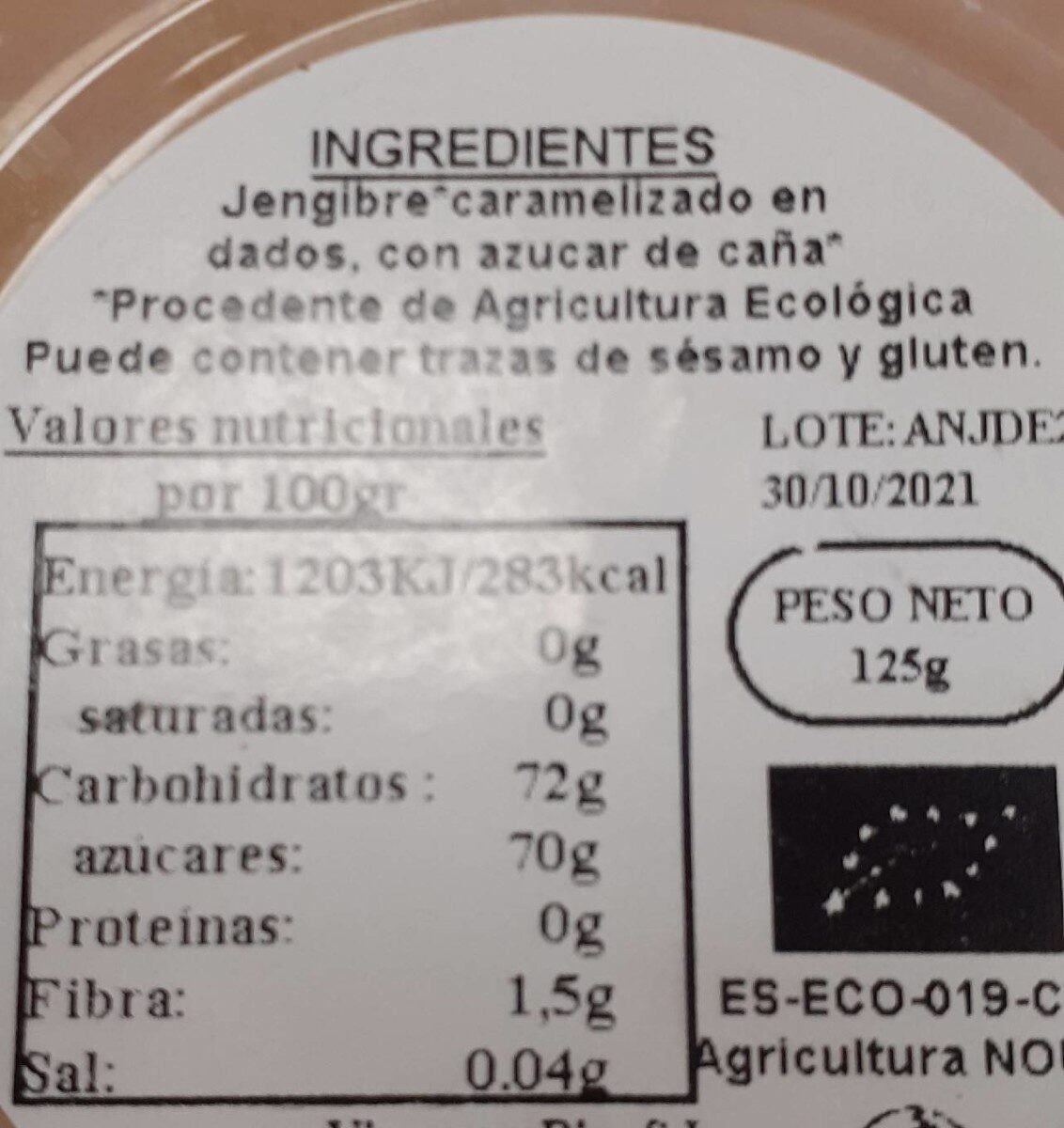 Dados de jengibre - Nutrition facts