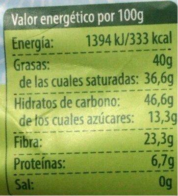 Bio chips de Coco deshidratado - Informations nutritionnelles - es