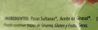 Bio pasas sultanas deshidratada - Ingrédients - es