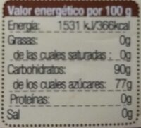 Bio azúcar panela - Nutrition facts - es