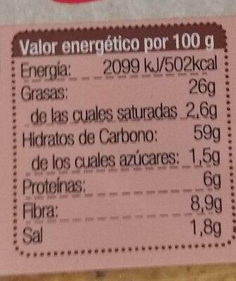 Bio Nachos-Roll con tomate sin gluten - Informació nutricional - es