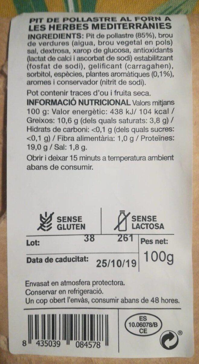 Pechuga de pollo al horno con hierbas - Voedingswaarden - es