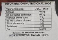 Tomate Rallado - Valori nutrizionali - es
