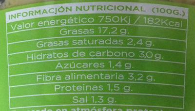 Guacamole picante - Información nutricional - es