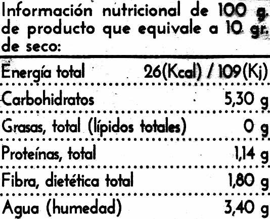 Cebolla deshidratada - Información nutricional - es