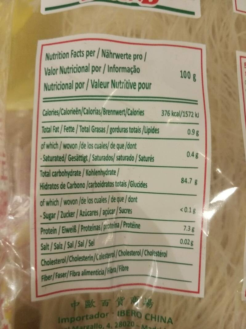 Rice stick - Nutrition facts