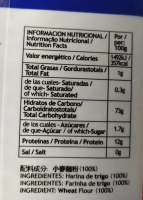 Tomoshiraga Somen Noodles/ Fideo finos - Nutrition facts - es