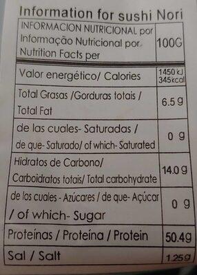 Alga Nori - Información nutricional