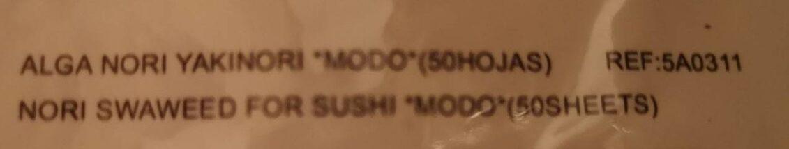 Algues sushi nori - Ingredientes - fr