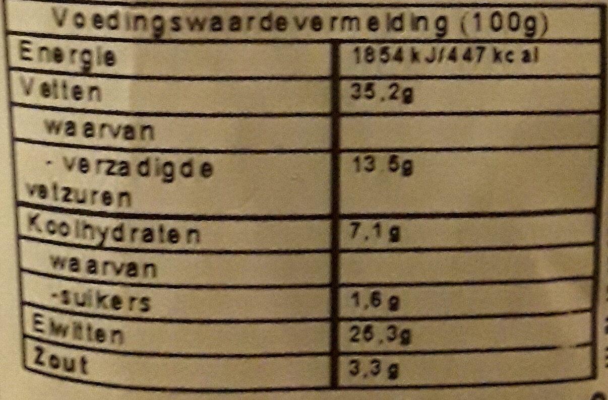 Fuet extra - Voedingswaarden - nl