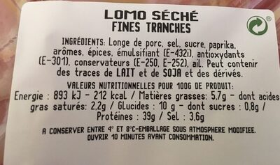 Tranches fines Lomo - Informations nutritionnelles