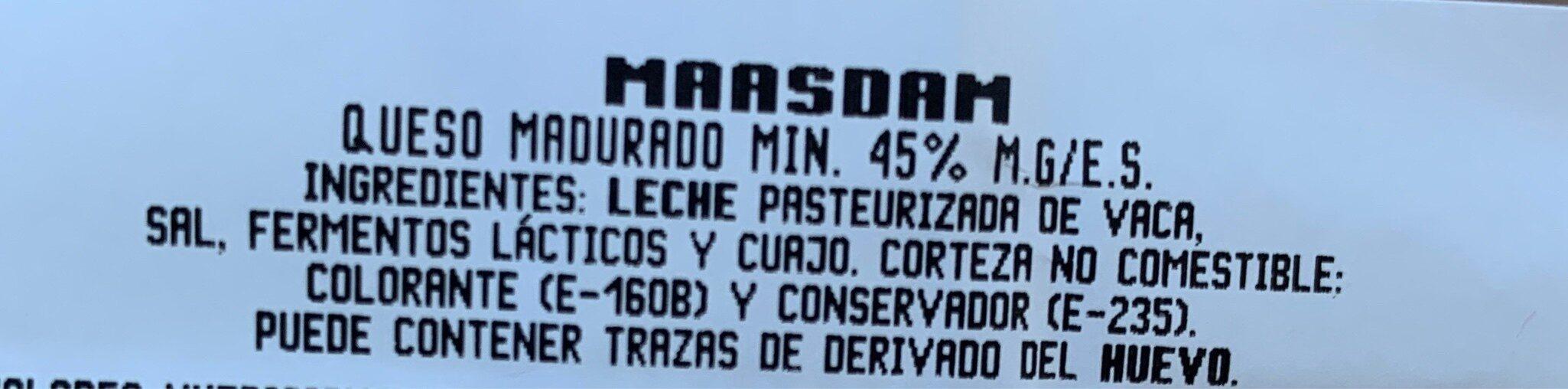 Maasdam - Ingredientes - es