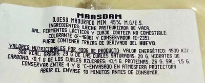 Maasdam - Ingredientes