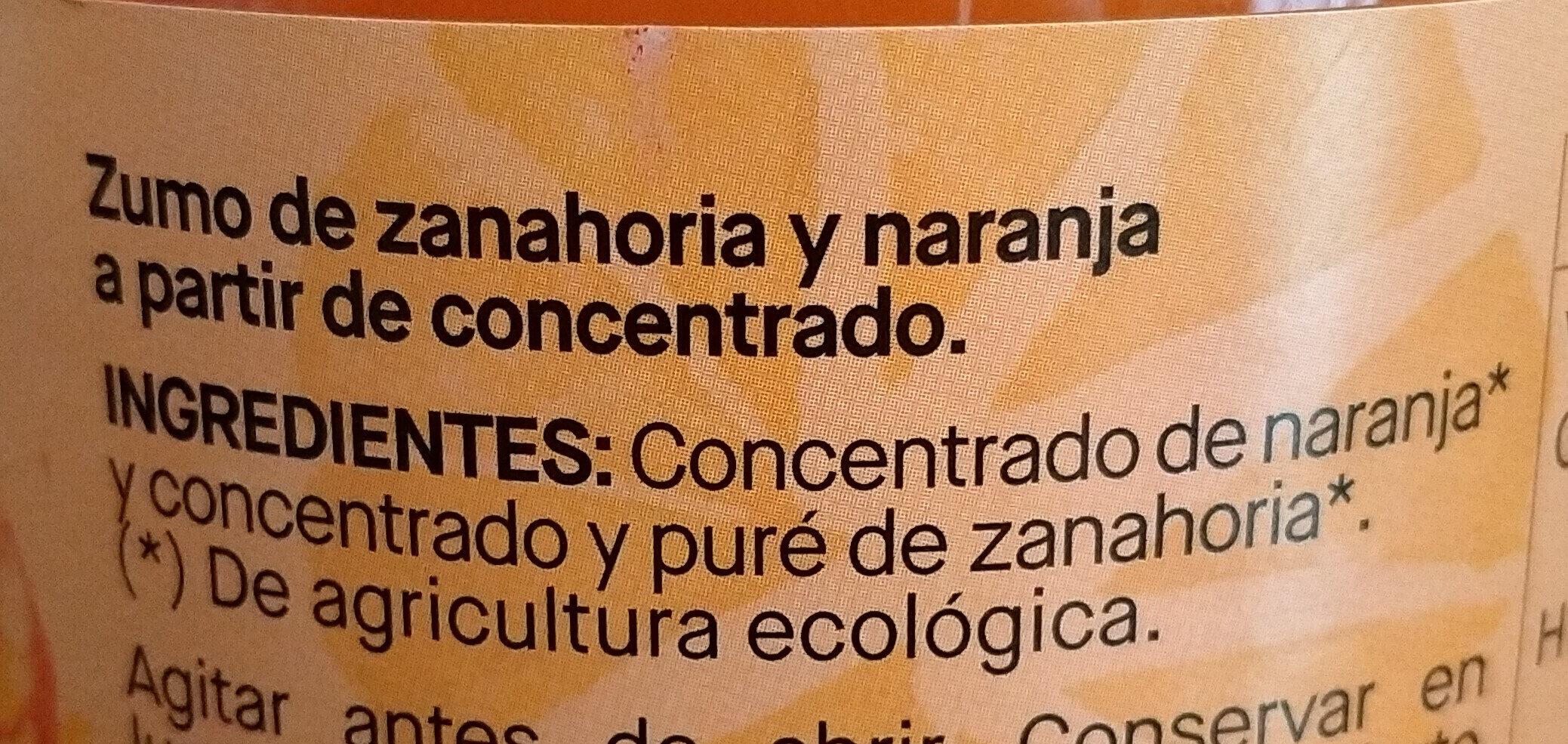 ZUMO DE ZANAHORIA Y NARANJA - Ingredients - es