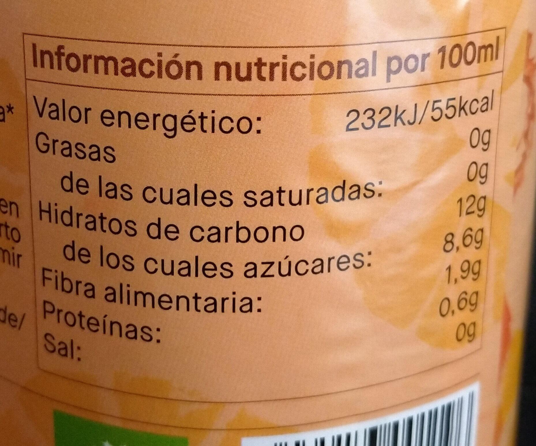 ZUMO DE ZANAHORIA Y NARANJA - Información nutricional - es