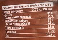 Tortitas de arroz con chocolate con leche - Información nutricional