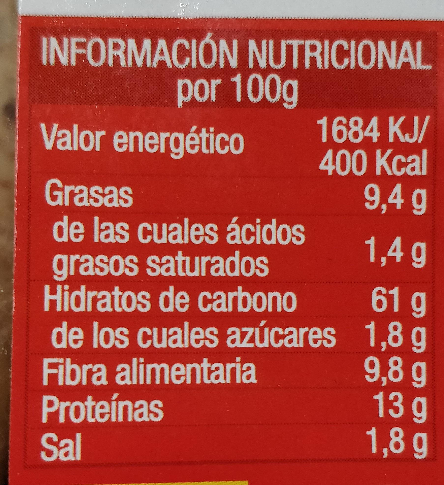 Grossini integral con semillas de lino - Información nutricional - es