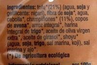 VBurger Tofu con champiñones - Información nutricional