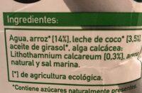 Bebida Arroz-Coco - Ingredientes