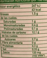 Bebida Arroz-Coco - Información nutricional