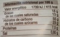 Magdalenas gigantes choco chips - Informations nutritionnelles - es