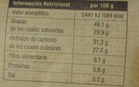 Chocolate Negro Eco Veritas - Informació nutricional